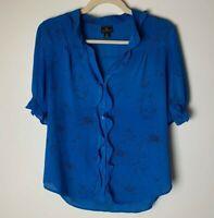 Worthington Women's Top Size Medium Blouse Short Sleeves Floral Blue Black