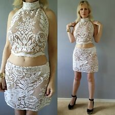 Vtg 70s CUTOUT Lace CROCHET Scalloped HIPPIE Festival Mini DRESS Skirt Crop Top