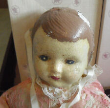 """Antique 1910s Composition Cloth Baby Girl Character Doll 13"""" Tall"""
