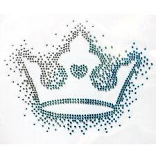 Rhinestone Iron on Transfer Hot fix Motif crystal Fashion Design Crown Blue 2013