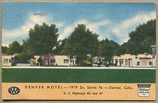1956 DENVER, CO LINEN POSTCARD Denver Motel 1919 S. Santa Fe