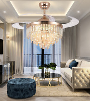 """42"""" Invisible Fan Ceiling Light Modern Home Crystal LED Chandelier w/ Remote"""