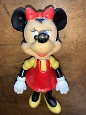 Vintage Disney Minnie Mouse 6 Inch Figure Vinyl Rubber Red Dress Yellow Shirt