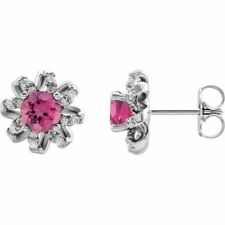 Pink Tourmaline & 1/6 CTW Diamond Halo-Style Earrings In Sterling Silver