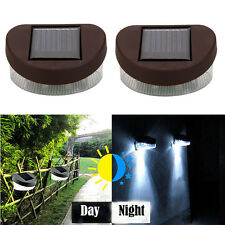 2Pcs Outdoor Solar 2LED Path Yard Wall Garden Gutter Fence Light Lamp Cool White
