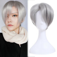 Yuri!!! on Ice Nikiforov Victor Cosplay Wig Men Silver Short Straight Full Wigs