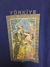 Turkey Türkiye T-shirt Medium Blue Ottoman Empire Art Distressed Türkhan Tekstil