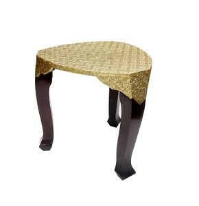 Wood Table Stool Bench Unique Hand Crafted Brass Polished Home Decor Indian Art