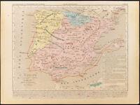 1859. España De la Invasión De Barbares. Mapa Geográfica Antigua Houze