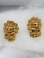 Pre Colombian South America, Tairona,Colombia,Tumbaga  24k gold plated Earrings