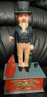 Vintage Uncle Sam Patriotic Tax Man Coin Bank Mechanical Plastic 1970s Toy 9""