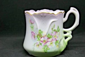 Vintage Hand Painted Japan Mustache Cup/Mug Green Pink Rose Floral Beautiful!!