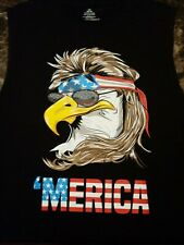 Black sleeveless Tank t-shirt America 'merica NWOT Eagle Flag Size Large