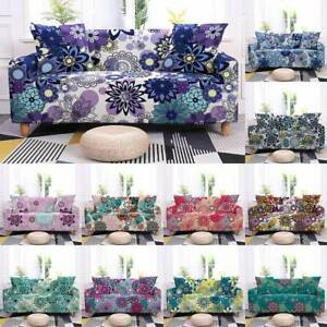 1/2/3/4 Seaters Bohemian Flower Pattern Elastic Slipcover Sofa Protective Cover