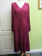 per Una Size 14 Womens Magenta Silky Midi Dress Drawstring Waist Was