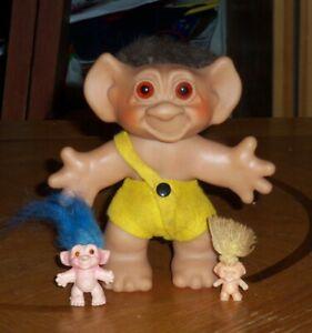 "Vintage 1960's Thomas Dam 6"" Troll Doll Caveman, 1 S.H.E. Pencil topper Troll"