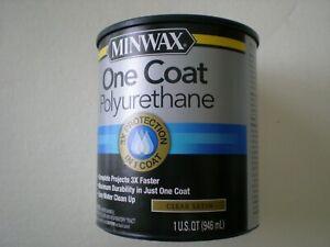 Minwax One Coat Polyurethane Wood Finish, Clear Satin OR Clear Semi-Gloss 1 Qt