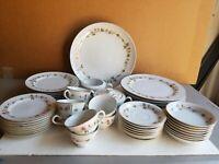 "Noritake ""Sierra Rose"" 52pc Fine Porcelain Dinner Set By #3308 Service for 8"