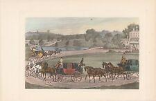 Pferdekutschen Kutschen Pferdegespanne handkolorierter DRUCK von 1914 Vierspänn