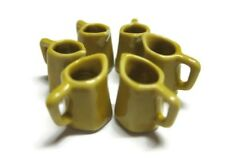 6 Yellow 6 Sided Ceramic Water Jug Dollhouse Miniatures Kitchenware