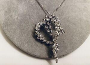 Estate Huge Over 6Ct Diamond 14k White gold brooch pin pendant Necklace