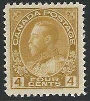 Canada, Scott #110, 4c olive bister, Admiral, mint, lightly hinged, V.F.-X.F.