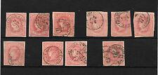 España. Isabel II. Conjunto de 10 sellos con fechador Ambulante