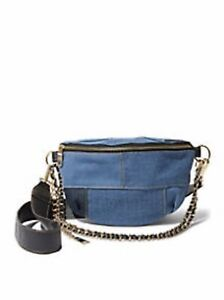 Steve Madden Drama Blue Denim Patch Convertible Belt Bag Crossbody Handbag
