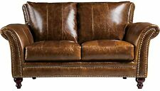 Butler Traditional Brown Leather Loveseat by Leather Italia