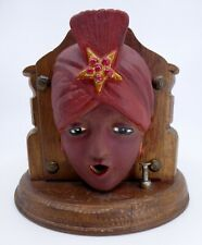 Vintage Art Deco Cigarette Dispenser Machine 1920s Gypsy Head Wood Spring Mech