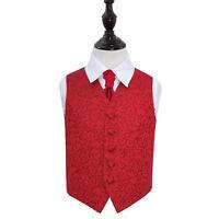 DQT Swirl Patterned Burgundy Boys Wedding Waistcoat & Cravat Set