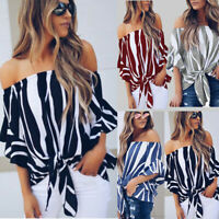 Womens  Off Shoulder Tops Ladies Summer Casual Loose T Shirt Tee Blouse #@