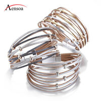 New Trendy Magnetic Multi-layer Leather Bangle Charm Cuff Bracelets For Women