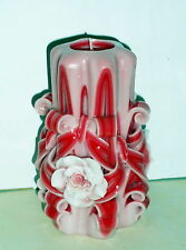 Red Rose candle Women`s gift candle Hand Carved candles 5 inch/ 12cm