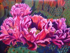 "Collectible Original Oil Painting 24x18 Cactus flower ""Desert Roses (ii)"""
