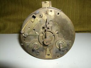 ANTIQUE FRENCH OR ENGLISH TABLE CLOCK MECHANISM IN WORKING ORDER C.1900