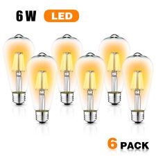 Edison Bulb Decor LED Light Vintage Style 60W Equivalent 6W E26 Warm white 6Pack