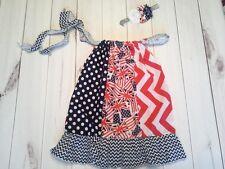 girls toddler pillowcase dress outfit headband 4th of july ruffle flag 2-4yr