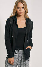 PrettyLittleThing Neriah Faux Leather Panel Hooded Top Hoodie L 12/14 BNWT Black