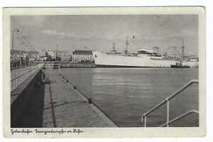 AK Gotenhafen Danzig Gdynia Gdingen Passierdampfer im Hafen Zeitdokument