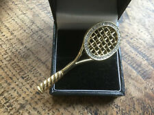 Tennis / badminton racket brooch gilded Set With Clear Crystals