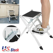 2Step Ladder Folding Stool Heavy Duty Industrial Lightweight Step Stool Foldable