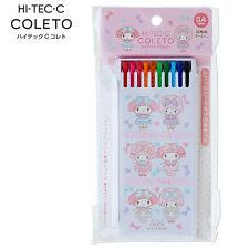 Sanrio My Melody Pilot Hi-TEC-C COLETO 0.4mm Refill 10 Colors Set Register Ship