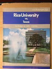 1970 Rice Owls vs Texas Longhorns Football Program VERY GOOD Condition