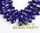 10pcs 16X8mm Teardrop Faceted Crystal Glass Pendants Loose Beads Royal Blue