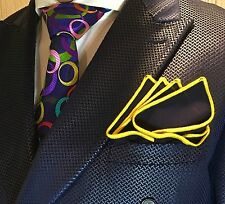 Pocket Square Handmade Navy Blue And Yellow Stitched Borders By Squaretrapny.com