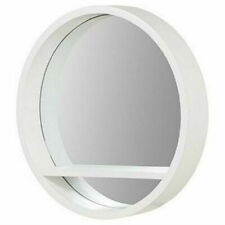 Wall Mounted Round Mirror With Shelf White Hanging Home Decor Bathroom Bedroom