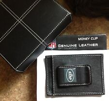 NEW YORK JETS LEATHER MONEY CLIP WALLET BILLFOLD NFL with  LEATHER GIFT BOX