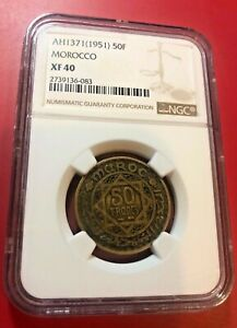 MOROCCO 50 Francs AH1371 /1951 Coin Mohammed V Empire NGC XF 40