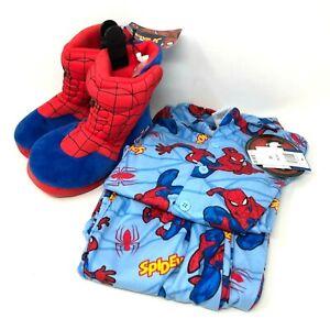 Marvel Spiderman PJ'S Fleece Pants Shirt Slippers Set Unisex Sleep Nighttime 10
